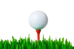 Golfbal op geïsoleerdr T-stuk stock foto's