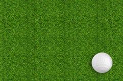 Golfbal op het groene gras van het golf Stock Afbeeldingen
