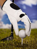 Golfbal op T-stuk Stock Afbeelding