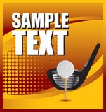 Golfbal op T-stuk met club op gouden halftone banner vector illustratie