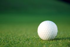 Golfball auf dem Grün Stockfotos