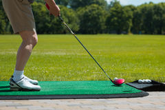Golfball auf dem Grün und dem Putter Lizenzfreies Stockfoto