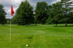 Golfball auf dem setzenden Grün stockfotos