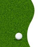 Golfball auf einem grünen Rasen Stockbild