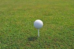 Golfball auf einem T-Stück Lizenzfreies Stockbild