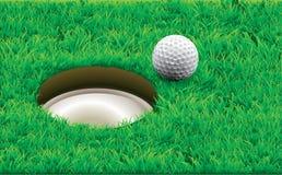 Golfball auf einem T-Stück stock abbildung
