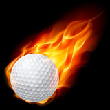 Golfball auf Feuer Stockfoto