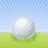 Golfball auf grünem Makrovektor Stockfotos