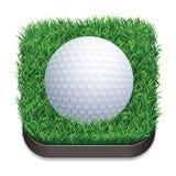 Golfball auf Gras Schattenbild des Bodybuilders Stockfoto