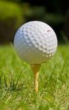 Golfball auf T-Stück am Golfplatz stockfotografie