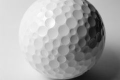Golfball close-up. A Golfball close-up in black and white Royalty Free Stock Photo