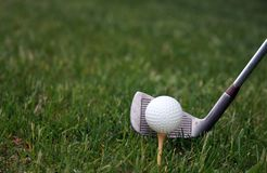 Golfball and club background royalty free stock photos