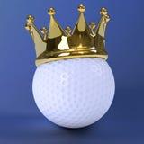 Golfball 3d mit Goldkrone vektor abbildung