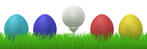 Golfball between easter eggs. 3d illustration of a golfball on a tee between four colorful easter eggs  in grass Royalty Free Stock Photography