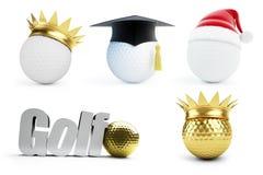 Golfball gesetztes 3d Auf weißem Hintergrund lizenzfreie abbildung