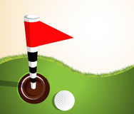 Golfball on green. Vector illustration of a golf ball on green background Stock Images