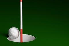 Golfball-Hole-in-One, Wiedergabe 3D Lizenzfreie Stockfotos