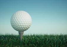 Golfball mit T-Stück im Gras Lizenzfreies Stockbild