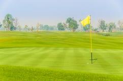 Golfball nahe Loch auf Grün mit gelber Markierungsfahne Lizenzfreie Stockfotos