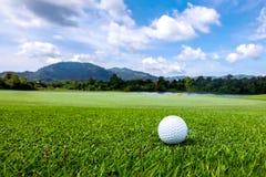 Golfball på kurs Arkivfoto