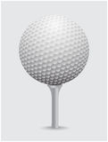 Golfball realistic vector. Image of single golf equipment on cone ball. Illustration isolated on grey background royalty free illustration