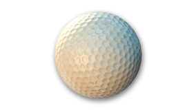 Golfball, Sportausrüstung lokalisiert auf Weiß Stockbild