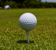 Golfball stand tee Stock Photo