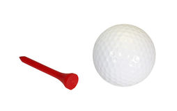 Golfball and Tee. Isolated on a white background Stock Photography