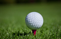 Golfball on tee. Golfball on red wooden tee Stock Image
