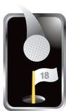Golfball und 18. Loch und Markierungsfahne im silbernen Feld Stock Abbildung