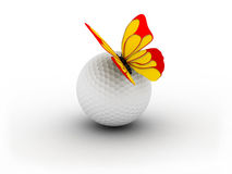 Golfball und Bitterfly Lizenzfreies Stockbild