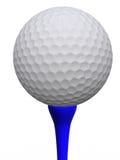 Golfball und blaues T-Stück Stockbild