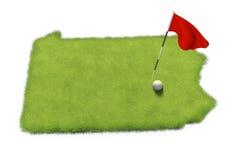 Golfball- und Flaggenpfosten auf Kursübungsgrün formte wie das Staat Pennsylvania stock abbildung