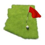 Golfball- und Flaggenpfosten auf Kursübungsgrün formte wie die Staat Arizona lizenzfreie abbildung
