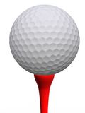 Golfball und rotes T-Stück Stockbilder