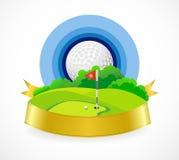 Golfball und schöner Golfclub lizenzfreie abbildung