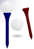 Golfball- und Stückvektorabbildung Stockfoto