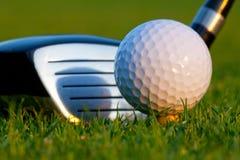 Golfball und Treiber auf Golfplatz Lizenzfreies Stockfoto