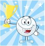 Golfball-Zeichentrickfilm-Figur, die Prize Trophäen-Schale hält lizenzfreie abbildung