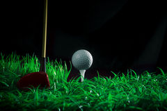 Golfballtreiber und -t-Stück auf Feld des grünen Grases Stockfotos