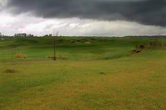 Golfbana efter regn royaltyfri foto
