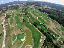 Golfbana för flyg- sikt Royaltyfri Fotografi