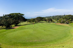 Golfbana gröna Flagstick Arkivfoto