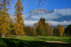 Golfbana 'Heidiland 'dåliga Ragaz, Schweiz royaltyfri foto