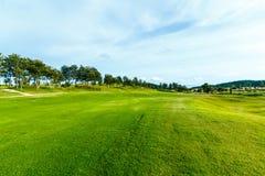 Golfbana i bygden Arkivbild
