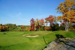 Golfbana i nedgången Arkivbilder