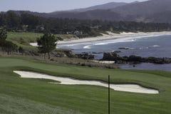 Golfbana i Pebble Beach, Kalifornien Royaltyfria Foton