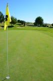 Golfbana och gul flagga Royaltyfri Bild