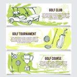 Golfbanners of de reeks van de websitekopbal stock illustratie