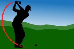 Golfbestuurder t-weg met brand stock illustratie